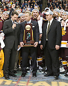 "?, Clay Matvick, Dale ""Hoagie"" Haagenson (Duluth - Manager), Mike Connolly (Duluth - 22), Justin Faulk (Duluth - 25), Scott Sandelin (Duluth - Head Coach), ? - The University of Minnesota-Duluth Bulldogs celebrated their 2011 D1 National Championship win on Saturday, April 9, 2011, at the Xcel Energy Center in St. Paul, Minnesota."
