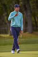 Hudson Swafford (USA) sinks his long putt on 14 during Round 1 of the Valero Texas Open, AT&amp;T Oaks Course, TPC San Antonio, San Antonio, Texas, USA. 4/19/2018.<br /> Picture: Golffile | Ken Murray<br /> <br /> <br /> All photo usage must carry mandatory copyright credit (&copy; Golffile | Ken Murray)