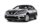 Stock pictures of low aggressive front three quarter view of 2017 Nissan Sentra S 4 Door Sedan Low Aggressive