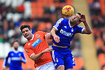 Blackpool's Darren O'Dea and Forest's Matty Fryatt contest a header - Blackpool vs. Nottingham Forest - Skybet Championship - Bloomfield Road - Blackpool - 14/02/2015 Pic Philip Oldham/Sportimage