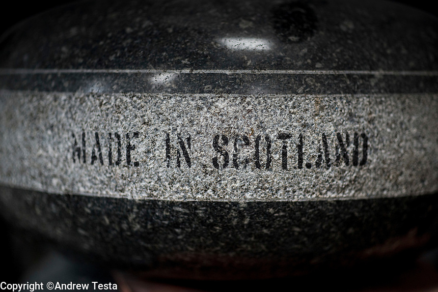 Scotland. Mauchline . 28th October 2013<br /> Curling stones are produced from Ailsa Craig rock at Kay's in Mauchline.<br /> &copy;Andrew Testa for the New York Times