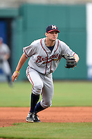 Mississippi Braves third baseman Kyle Kubitza (39) during a game against the Montgomery Biscuits on April 22, 2014 at Riverwalk Stadium in Montgomery, Alabama.  Mississippi defeated Montgomery 6-2.  (Mike Janes/Four Seam Images)
