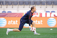Goalkeeper Brad Guzan of the United States (USA) men's national team during a practice session at PPL Park in Chester, PA, on October 11, 2010.