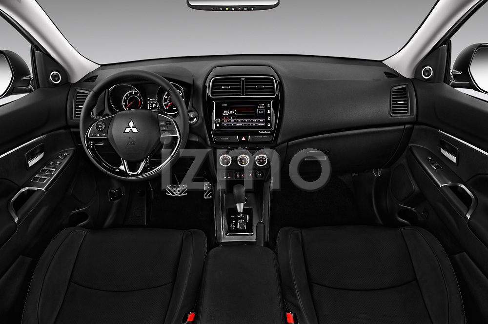 Stock photo of straight dashboard view of a 2018 Mitsubishi Outlander Sport SEL 5 Door SUV
