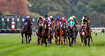 OCT 06: The Field for the Dixiana Bourbon Stakes races at Keeneland Racecourse, Kentucky on October 06, 2019. <br /> The race was eventually won by Peace Achieved (grey silks , black cap) Evers/Eclipse Sportswire/CSM