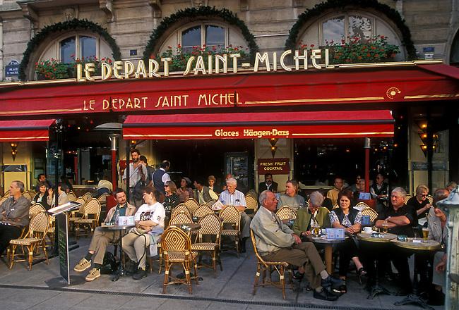 People Le Depart Saint Michel cafe restaurant Place Saint Michel Latin Quarter city of Paris Ile de France region France Europe