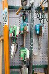 Display of gardening tools on sale, The Walled garden plant nursery, Benhall, Suffolk, England, UK