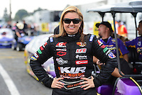 Nov. 8, 2012; Pomona, CA, USA: NHRA pro stock driver Erica Enders during qualifying for the Auto Club Finals at at Auto Club Raceway at Pomona. Mandatory Credit: Mark J. Rebilas-