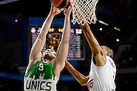 Real Madrid's player Anthony Randolph and Unics Kazan's player Artsiom Parakhouski during match of Turkish Airlines Euroleague at Barclaycard Center in Madrid. November 24, Spain. 2016. (ALTERPHOTOS/BorjaB.Hojas) //NORTEPHOTO