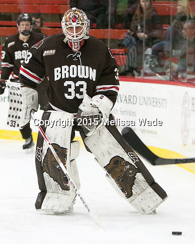 Tim Ernst (Brown - 33) - The Harvard University Crimson defeated the Brown University Bears 4-3 to sweep their first round match up in the ECAC playoffs on Saturday, March 7, 2015, at Bright-Landry Hockey Center in Cambridge, Massachusetts.