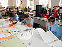 Schoolchildren taking part in a design and technology lesson in the art and craft schoolroom. This image may only be used to portray the subject in a positive manner..©shoutpictures.com..john@shoutpictures.com