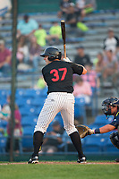 Anthony Villa (37) of the Great Falls Voyagers at bat against the Helena Brewers at Centene Stadium on August 18, 2017 in Helena, Montana.  The Voyagers defeated the Brewers 10-7.  (Brian Westerholt/Four Seam Images)