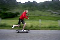 Girl on skateboard.