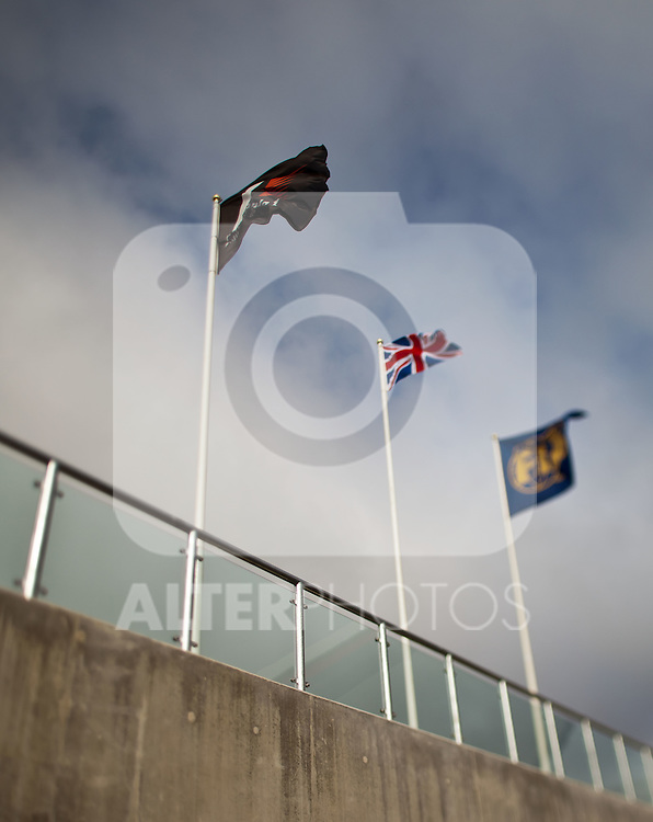09.07.2011, Silverstone Circuit, Silverstone, GBR, F1, Großer Preis von Großbritannien, Silverstone, im Bild die Fahnen der Formula 1, Großbritanniens und der Fia, Tilt and Shift // The flags of the Formula 1, Great Britain and the FIA, Tilt and Shift during the Formula One Championships 2011 British Grand Prix held at the Silverstone Circuit, Northamptonshire, United Kingdom, 2011-07-09, EXPA Pictures © 2011, PhotoCredit: EXPA/ J. Feichter