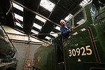 Pictured: Richard Bentley, Operations manager on the Midhants railway cleans a Cheltenham School Class 1935 steam train in the railyard in Ropley, Hants ahead of the proposed reopening of the Watercress Line in July. <br /> <br /> Due to the Coronavirus pandemic the railway is currently reliant on the cash reserves it had carefully built in order for future investment into the line.The Watercress Line requires over £800,000 of investment over the next couple of years and is using those savings at present to cover the overhead costs of the heritage line.<br /> <br /> The coronavirus pandemic forced the heritage railway line to close for only the second time in its history, and Midhants railway have set up a page accepting voluntary donations which will go directly towards future investment into the Watercress Line.<br /> <br /> © Jordan Pettitt/Solent News & Photo Agency<br /> UK +44 (0) 2380 458800