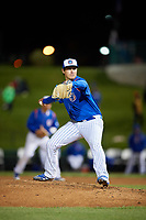 South Bend Cubs relief pitcher Michael Rucker (27) delivers a pitch during a game against the Clinton LumberKings on May 5, 2017 at Four Winds Field in South Bend, Indiana.  South Bend defeated Clinton 7-6 in nineteen innings.  (Mike Janes/Four Seam Images)