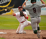 Tuesday, July 14, 2009.  Vancouver 2nd baseman Conner Crumbliss (left) throws to 1st after Boise's Matt Williams is forced out at 2nd.  The double play was not successful. The Vancouver Canadians went on to win the game against The Boise Hawks 3-2 at Nat Bailey Stadium in Vancouver.   Photo by Gus Curtis.