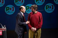 Roma, 22 Febbraio, 2013. Pier Luigi Bersani con Nanni Moretti, alla chiusura della campagna elettorale al Teatro Jovinelli.