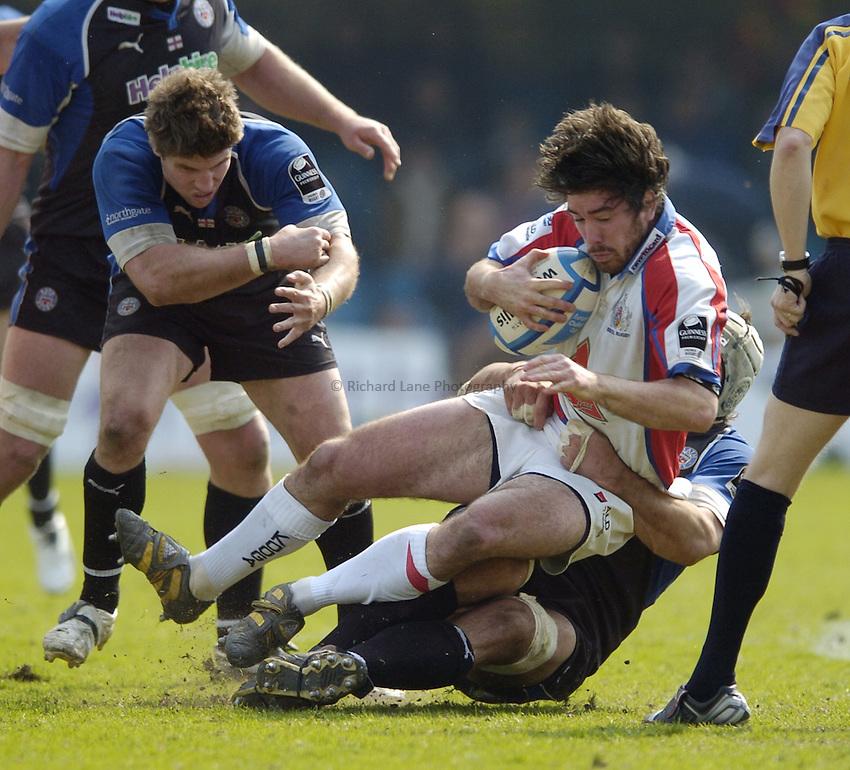 Photo: Jonathan Butler..Bath Rugby v Bristol Rugby. European Challenge Cup. 31/03/2007..Danny Grewcock of Bath tackles David Blaney (R) of Bristol.