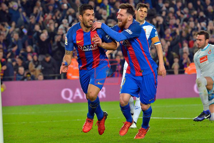 League Santander 2016/2017. Game: 16.<br /> FC Barcelona vs RCD Espanyol: 4-1.<br /> Luis Suarez &amp; Lionel Messi.