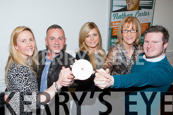 Myra Griffin, Eugene O'Sullivan, Grainne O'Sullivan, Kathrena Breen and Joe Burkett launching the Killarney Strictly Come Dancing show DVD in aid of the Irish Cancer Society in the INEC on Monday night