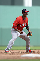 Boston Red Sox third baseman Rafael Devers (12) during an Instructional League game against the Minnesota Twins on September 26, 2014 at jetBlue Park at Fenway South in Fort Myers, Florida.  (Mike Janes/Four Seam Images)
