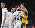 Arsenal's Granit Xhaka embraces brother Taulant Xhaka of Basel at the final whistle during the Champions League group A match at the Emirates Stadium, London. Picture date September 28th, 2016 Pic David Klein/Sportimage