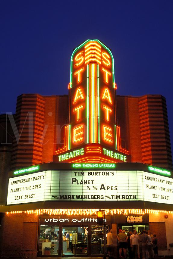Ann Arbor, MI, Michigan, The State Theatre at night in downtown Ann Arbor.