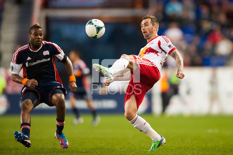 Jonny Steele (22) of the New York Red Bulls plays the ball during a Major League Soccer (MLS) match against the New England Revolution at Red Bull Arena in Harrison, NJ, on March 20, 2013.