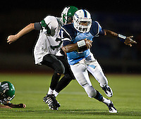 The Yorktown Patriots blew out crosstown rivals the Warriors 68-0 in a National District showdown on September 9, 2011 at Yorktown. The win improved the Patriots' record to 2-0 and gave Yorktown Head Coach Bruce Hansson his 199th career win.