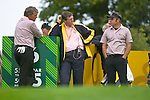 Ryder Cup. Darren Clarke, Des Smyth and Paul McGinley discuss tactics during practise on the 16th tee of the Palmer Course at the K Club..Photo: Eoin Clarke/ Newsfile.