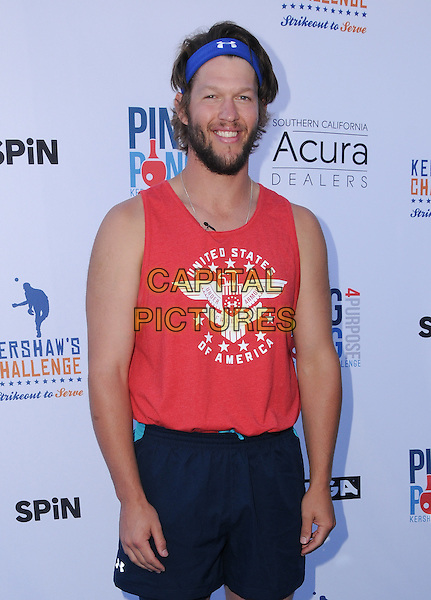 11 August 2016 - Los Angeles, California. Clayton Kershaw. Clayton Kershaw's 4th Annual Ping Pong 4 Purpose Celebrity Tournament held at Dodger Stadium. <br /> CAP/ADM/BT<br /> &copy;BT/ADM/Capital Pictures