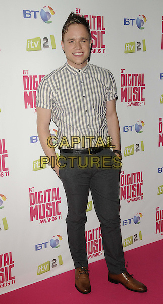 Olly Murs.BT Digital Music Awards held at the Roundhouse, Chalk Farm, London, England..September 29th 2011.full length grey gray white shirt hands in pockets trousers .CAP/CAN.©Can Nguyen/Capital Pictures.