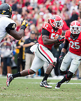 The Georgia Bulldogs beat the App State Mountaineers 45-6 in their homecoming game.  After a close first half, UGA scored 31 unanswered points in the second half.  Georgia Bulldogs linebacker Amarlo Herrera (52) runs with an interception
