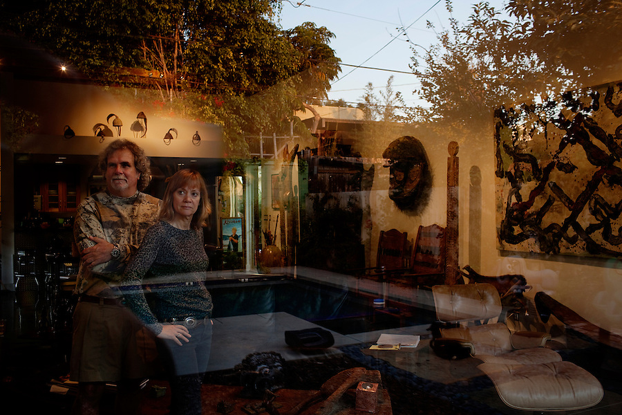 Los Angeles, California, November 14, 2009 - Portrait of Ernie and Diane Wolfe in their home, based on a Quonset hut. The Wolfe's own the Ernie Wolfe Gallery and are the most reknowned African at dealers in the country. ..CREDIT: Daryl Peveto for The Wall Street Journal.Homefront - Ernie Wolfe #1348.