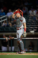 Chattanooga Lookouts catcher Tyler Stephenson (9) during a Southern League game against the Birmingham Barons on May 2, 2019 at Regions Field in Birmingham, Alabama.  Birmingham defeated Chattanooga 4-2.  (Mike Janes/Four Seam Images)