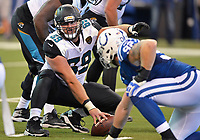 Jacksonville Jaguars center Tyler Shatley (69) against the Indianapolis Colts in a NFL game Sunday, October 22, 2017 in Indianapolis, IN.  (Rick Wilson/Jacksonville Jaguars)