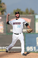 Ray Hanson #32 of the Inland Empire 66ers pitches against the Rancho Cucamonga Quakes at San Manuel Stadium on August 10, 2014 in San Bernardino, California. Inland Empire defeated Rancho Cucamonga, 4-1. (Larry Goren/Four Seam Images)