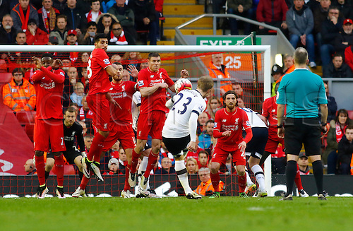 02.04.2016. Anfield, Liverpool, England. Barclays Premier League. Liverpool versus Tottenham Hotspur. Spurs midfielder Christian Eriksen fires in a free kick but it goes narrowly wide of the left post.