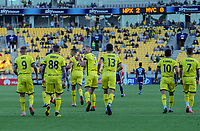 Phoenix players celebrate going 2-0 up during the A-League football match between Wellington Phoenix and Melbourne Victory FC at Sky Stadium in Wellington, New Zealand on Sunday, 15 March 2020. Photo: Dave Lintott / lintottphoto.co.nz