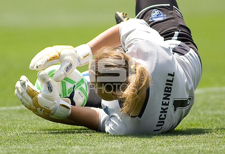 Boston Breakers goalkeeper Kristin Luckenbill saves one. The Boston Breakers and LA Sol played to a 0-0 draw at Home Depot Center stadium in Carson, California on Sunday May 10, 2009.   .