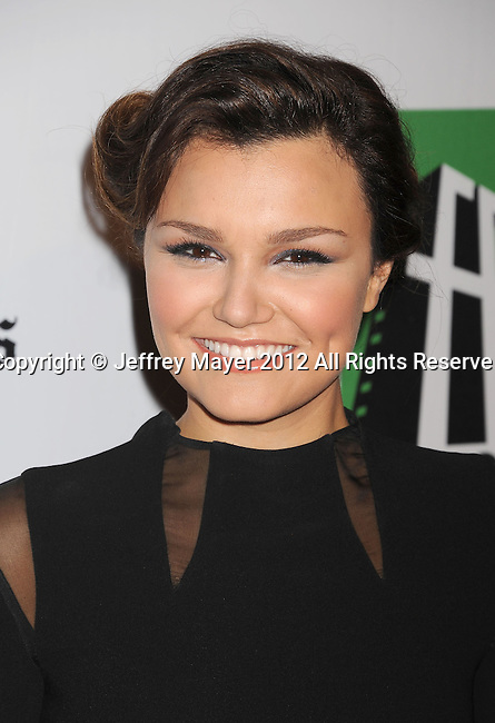 BEVERLY HILLS, CA - OCTOBER 22: Samantha Barks arrives at the 16th Annual Hollywood Film Awards Gala presented by The Los Angeles Times held at The Beverly Hilton Hotel on October 22, 2012 in Beverly Hills, California.