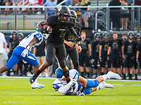 CONWAY VS BENTONVILLE  - Preston Crawford (1) of Bentonville runs the ball as Parker Prock tries to bring him down at Tiger Stadium, Bentonville, AR, on Friday September 6. 2019,   Special to NWA Democrat-Gazette/ David Beach