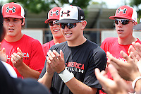 Outfielder Sam Gillikin #9 of Hoover High School in Alabama during a pre-practice cheer for the Under Armour All-American Game presented by Baseball Factory at Les Miller Field on August 12, 2011 in Chicago, Illinois.  (Mike Janes/Four Seam Images)