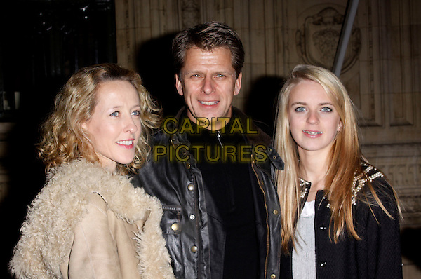 ANDREW CASTLE, WIFE SOPHIA & DAUGHTER .Arrivals at Cirque du Soleil's Varekai gala opening night at the Royal Albert Hall, London, England. .January 5th, 2009.half length family  couple married husband dad father beige coat black fur sheepskin lined .CAP/AH.©Adam Houghton/Capital Pictures.