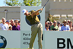 Ernie Els tees off from the 1st tee to start  Round 3 of the BMW PGA Championship at  Wentworth, Surrey, England, 22nd May 2010...Photo Golffile/Eoin Clarke.(Photo credit should read Eoin Clarke www.golffile.ie)....This Picture has been sent you under the condtions enclosed by:.Newsfile Ltd..The Studio,.Millmount Abbey,.Drogheda,.Co Meath..Ireland..Tel: +353(0)41-9871240.Fax: +353(0)41-9871260.GSM: +353(0)86-2500958.email: pictures@newsfile.ie.www.newsfile.ie.