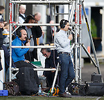 RFC_Dickson and big DJ in their scaffolding tower for Rangers TV as Richard Wilson stands outside