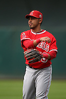 OAKLAND, CA - JULY 16:  Maicer Izturis of the Los Angeles Angels of Anaheim makes a play at second base against the Oakland Athletics during the game at the Oakland-Alameda County Coliseum on Saturday, July 16, 2011 in Oakland, California. Photo by Brad Mangin