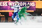 Stockholm 2014-12-02 Bandy Elitserien Hammarby IF - IFK V&auml;nersborg :  <br /> V&auml;nersborgs Mikko Lukkarila i kamp om bollen med Hammarbys Robert Rimg&aring;rd under matchen mellan Hammarby IF och IFK V&auml;nersborg <br /> (Foto: Kenta J&ouml;nsson) Nyckelord:  Elitserien Bandy Zinkensdamms IP Zinkensdamm Zinken Hammarby Bajen HIF IFK V&auml;nersborg