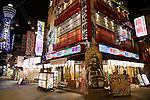 Osaka, JP - January 21, 2015 : A big Billiken (lucky symbol) on display outside a restaurant in the Shinsekai shopping district of Osaka, Japan. (Photo by Rodrigo Reyes Marin/AFLO)